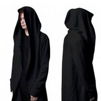 Wholesale Korean Fashion Men S Cardigan - Wholesale-Korean Version the Original Design Men's Sweatshirts Autumn New Long Section Hooded Cardigan Coat Cape Black Soul Cloak AXD1561