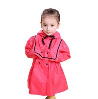 Wholesale Princess Kids Raincoats - 2017 Fashion Brand Cute Princess Dress kids Raincoat Rain wear Child Girl's Polyester Yellow Red Rain Ponchos Trench chubasquero