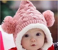 Wholesale crocheted hats for infants for sale - Group buy crochet beanie for baby boy girl child cap winter bear Cute Ears caps infant Christmas warm hat plush hat
