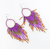 Wholesale Vintage Beaded Chandelier - Bohemia Multicolor Beaded Tassel Earrings Women Charm Jewelry Dangle Vintage Drop Earrings Statement Eardrop free ship