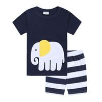 Wholesale Elephant Long Sleeve - Elephant Children Clothes Suits 2017 Newest 100% Cotton Fashion Boys Pajamas Sets Summer Short T-Shirts Pant Girls Sleepwear