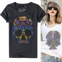 Wholesale Skull Pattern Top - Wholesale- 2016 summer O-neck t shirt women Diamond skull Pattern short sleeve cotton Show thin casual t-shirt Fashion women tops