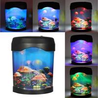 аквариумное освещение оптовых-Wholesale- Color Changing LED Night Light Jellyfish Fish Tank Sea World Aquarium Mood Lamp Home Decor Festival Party Decoration Nightlight