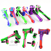 Wholesale Wax Hands - Multi-Function Silicone Hammer Bubbler Hand Pipe Camo Detachable Oil Burner Pipes for Smoking with Wax Jar Stainless Dabber Tool Glass Bowl