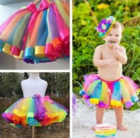 Wholesale orange dancewear - Children Rainbow Tutu Dresses New Kids Newborn Lace Princess Skirt Pettiskirt Ruffle Ballet Dancewear Skirt Holloween Clothing HH-S29