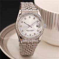 relógios de prata e relógios homens venda por atacado-Relogio masculino moda mens relógios de grife nova marca de prata relógios de pulso cheio de diamantes relógio homens data automática relógio de quartzo data