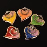 Wholesale Heart Hook Holder - Rotating 360 Liquid Finger Grip Bling Glitter Heart Universal Cell Phone Luxury Ring Hook Holder Stand For Moblie phone OTH087