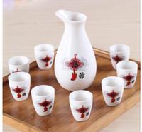 ingrosso bottiglie dipinte a mano-Tazze Ceramica dipinta a mano Set da vaso di vino Decorazione Casa in stile giapponese Tazze da vaso in ceramica Set Vino Liquore Bottiglia di liquore Boccetta Set Sak