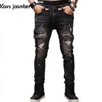 Wholesale Hot Slim Patch - 2017 Hot Sale Men Jeans Ripped Biker Hole Denim robin patch Harem Straight punk rock jeans men high quality Casual Trousers homme wholesale