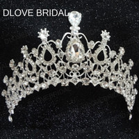 Wholesale Beauty Pageant Tiaras - Real Photo Stunning Crystal Bridal Cown Beauty Pageant Big Royal Crown Factory Best Price Hair Accessories Head Tiaras Prom Party Headpieces