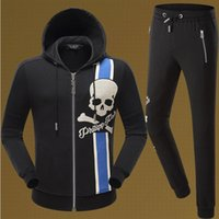 Wholesale Skull Knit Cardigan - 2017 NEW Hot Tide Brand Fit Slim MENS Sport Tracksuit top quality Space Cotton Print Skulls P8546 8545 Casual Hoodie Mens Jackets TrackSuits