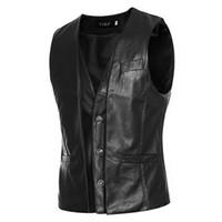 Wholesale Leather Suit Vest - Wholesale- 2016 New Arrival Brand Clothing Autumn Waistcoat Men Fashion Leather Vest Men Casual Slim Fit Men Vest Suit