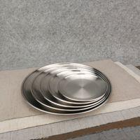 Wholesale metal dinner plates wholesale - 14cm 17cm 20cm 23cm 26cm Kroean Style Stainless Steel Dinnerware Dinner Dish Flat Plate Tableware Canteen Severing Tray ZA4493