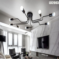 Wholesale modern long chandeliers - Personality ceiling lamp light ceiling chandeliers led long iron chandelier,bedroom lamp living room decoration, lamp customization