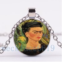Wholesale Parrot Chain - 10Pcs Frida Kahlo and parrot Necklace,Christmas Gift,birthday Gift,Cabochon Glass Necklace,silver black Chain Necklace Fashion Jewelry R-793