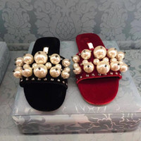 Wholesale Leather Sandals Pearls - 2017 new designer MM pearl slippers sandals for women High quality fashion brand women laides genuine leather red black velvet flip flop