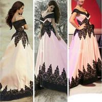 Wholesale Lace Trim Navy - Free Shipping Vestidos de noiva 2017 Off the Shoulder Fancy Saudi Arabia Black Lace Trim Long Evening Dresses