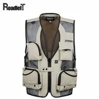 Wholesale men satin waistcoat - Wholesale- Mens multi pocket detachable vest Men army sleeveless jacket waistcoat Men journalist vest casual coat