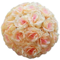 Wholesale Artificial Flower Girl Ball - 20cm Artificial Silk Rose Pomander Flower Balls Wedding Party Bouquet Home Decoration Ornament Kissing Ball Hop
