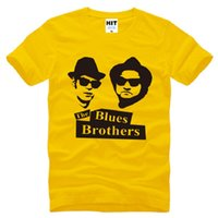 Wholesale Film Tee Shirts - New Summer The Blues Brothers T Shirts Men Cotton Short Sleeve Jake and Elwood Men's T-Shirt Fashion Film Music Male Tops Tees Big Size