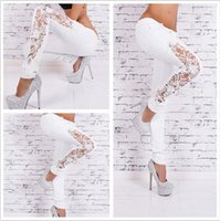 Wholesale Cotton Trousers For Women - European Wind Woman Solid Color Fashion Lace Suit-dress Cowboy Trousers Hole Jeans For Women
