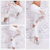 Wholesale Dress Skinny Women - European Wind Woman Solid Color Fashion Lace Suit-dress Cowboy Trousers Hole Jeans For Women