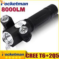 Wholesale Diving Flashlight Torch T6 Led - LED Flashlight 8000 Lumens Torch Lanterna Led CREE T6 + 2Q5 Rotating Camping Hunting Torch Magnet Lanterna Tatica Lampe Torche