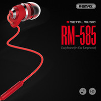 Wholesale Earphone Earmuffs - Brand REMAX RM-585 Fashion Metal Music Earphone With Mic and 3.5mm Plug For iphone samsung Universal Wired Earphones With Extra Earmuffs