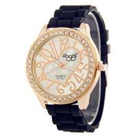 Wholesale Peaches Watch - High quality sloggi brand ladies silicone watch personality digital peach heart dial diamonds quartz girl table
