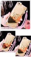 Wholesale rhinestone mirror for phones online – For LG G3 G4 G5 G6 V10 V20 Diamond Rhinestone Butterfly Mirror Soft Crystal finger ring Phone case handmade lanyard