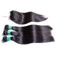 bakire saç satmak toptan satış-Sıcak Satış Bakire Malezya İnsan Saç Düz Ve Kapatma, Ücretsiz Üst Dantel Kapatma Içinde 3 Demetleri Düz Paketler