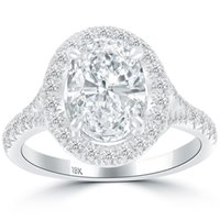 oval halo diamond engagement ring - 2 Ct D SI1 Oval Cut Natural Diamond Engagement Ring k White Gold Pave Halo