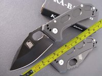 Wholesale Titanium Handle Bar - free shipping 8'' KA-BAR NEW 440 Blade Full Steel Handle Line Lock Pocket Floding Knife KB02