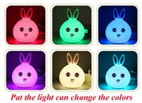Wholesale Color Changing Led Rabbit Lights - Lovely Rabbit Light Lamp Color Change LED Lamp Night Lights Baby Sleeping Home Deco DHL free