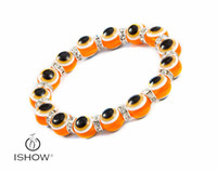 Wholesale Orange Beaded Bracelets - Wholesale High Quality Orange Acrylic Beaded with Crystal Evil Turkish Eye Lucky Bracelet Jewelry Gift for friends