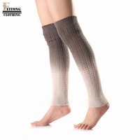 Vente en gros- FEITONG Femmes gradient Couleur Long Leg Warmer Winter Warmer Femmes Colorful Crochet Knit Leg Boot Chaussettes Toppers Cuffs