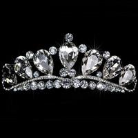 kostenlose köder des verschiffens großhandel-Atemberaubende Shinny Hohe Qualität Große Strass Kristall Pageant Tiara Crown Braut Zubehör Party Prinzessin Königin Kopfschmuck Kostenloser Versand