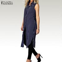 Wholesale Long Asymmetrical Stripe Dresses - Women 2017 Autumn Stripe Print Dress Ladies Lapel Sleeveless Split Hem Casual Loose Long Shirts Tops Vestidos Oversized