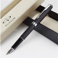 Wholesale parker ink black - 1pcs lot Parker Sonnet Fountain Pen Matte Black Color Pens Silver Clip Parker Ink Pen Caneta Tinteiro School Supplies 13.3*1.3cm