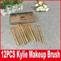 Wholesale Christmas Makeup Brush Gift Set - Kylie Makeup Brush 12 pieces Professional Makeup Brush set Kit +Iron box DHL Free shipping For Christmas Gift