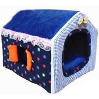 casas de perro gratis al por mayor-Diseño de la cremallera plegable mascota gato cama caliente cómoda casa de perro suave envío gratis perreras para perros pequeños