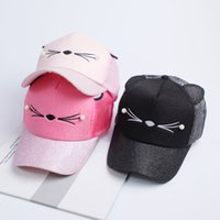 Wholesale Baseball Cat - New Women Cat Baseball Cap With Cute Cat Ears Curved Brim Snapback Hat Cat Face Pearl Cotton Caps Outdoor Mesh Hats