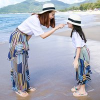 Wholesale Shirts Match Skirts - Mother and daughter Bohemia maxi skirt 2pc set white T shirt+falbala fish tail skirt beach dress family matching look beach outfits