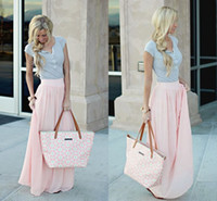 Wholesale Champagne Maxi - Stunning Pastel Pink Maxi Skirts For Women Chiffon Ruffles Feminine Spring Autumn Long Skirts High Waist Girls Skirts