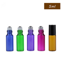 Wholesale purple essential oil bottle for sale - Group buy Thick ml Red Amber Blue Green Purple Empty Roll on Glass Bottles for Essential Oil Bottle METAL Roller Ball Free DHL