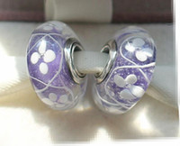 Wholesale Field Flowers - 5pcs 925 Sterling Silver Thread Purple Field of Flowers Murano Glass Beads Fit European Style Pandora Charm Jewelry Bracelets & Necklaces