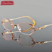 Wholesale Read Diamond - Wholesale- Chashma Luxury Tint Lenses Myopia Glasses Reading Glasses Diamond Cutting Rimless Titanium Glasses Frame for Women