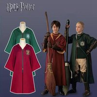 Wholesale Uniform Cloaks - Halloween Costumes Harry Potter Cloak Gryffindor Slytherin Magic Robes Quidditch Team Uniform Cosplay Costumes Cloaks Robe For Kids Adult