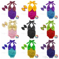 Wholesale Headband Handband - Baby Clothing Sequins Rompers Bowknot Handband Bow Sequin Jumpsuit Summer Tight Bodysuit Casual Lace Up Fashion Clothing Sets 11 Colors H329