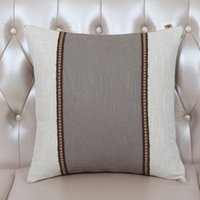 Wholesale High Backed Sofas - Classic High End Patchwork Cushion Cover Sofa Seat Chair Lumbar Pillow Europe American Style Cotton Linen Cloth Back Cushion Case